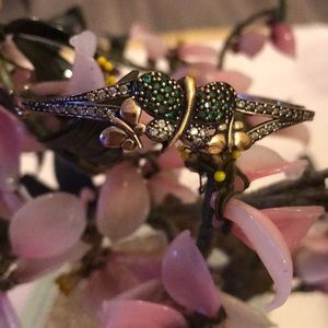 Antique 925 emerald &topaz dragonfly bracelet